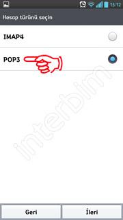 Hesap türü seçin ekranında POP3 seçeneğine dokunuyoruz.