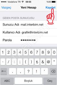 Aynı ekranda bulunan Giden Posta Sunucusu bölümünü de dolduruyoruz.