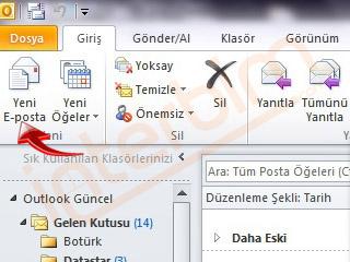 Yeni E-posta düğmesini tıklayarak e-posta oluşturabilirsiniz.