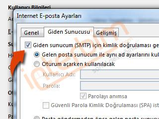 Giden Sunucum (SMTP) için Kimlik Doğrulaması Gerekiyor seçeneğini işaretleyiniz.